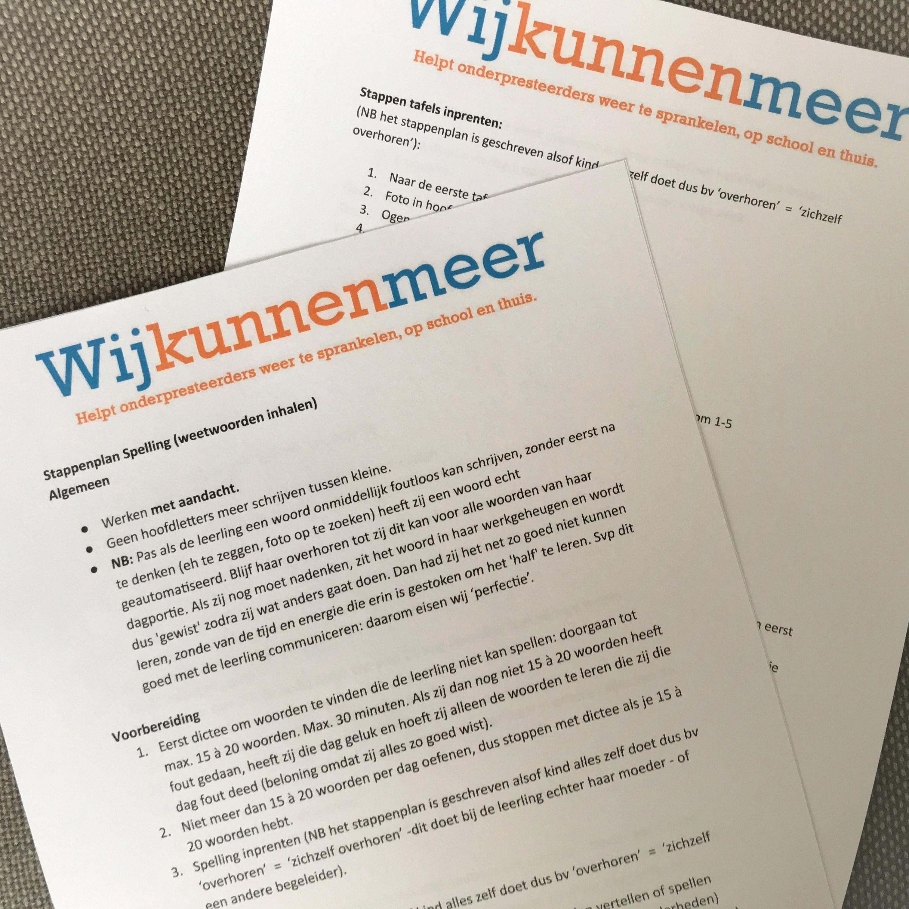 Stappenplan Spelling en tafels leren